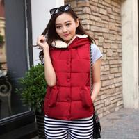 2014 new winter fashion hooded cotton vest short paragraph down vest down vest women Coat Down Jacket