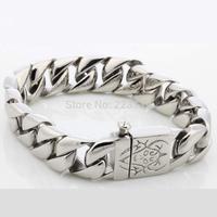 "Classics High Polish Silver Charm Curb Link Fashion Bracelet Bangle Stainless Steel Jewelry 8.66"""