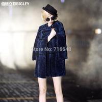 Statehood of the lamb wool one piece female fur overcoat female long design slim fur coat