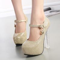 Ultra high heels scrub platform round toe women's shallow mouth shoes autumn sexy rhinestone thin heels single shoes female