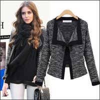 Hot european style 2014 new women fall and winter clothes Slim sweater cardigan sweater jacket coat plus size Ms