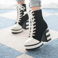 2014 lacing boots fashion vintage black and white ultra high heels martin medium-leg boots