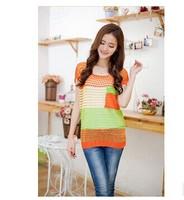 2014 new spring and summer women's short-sleeved striped shirt Korean short-sleeved sweater cardigan sweater