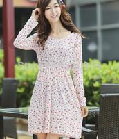 Winter Dress Women's Vintage Polka Dot Geometric Print Flower Casual Dress Elastic Waist Spaghetti Strap Knee Length Dress 234