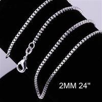 Free Shipping, 925 silver fashion jewelry 2mm 24 Inch Box chains CC09