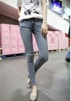 2014 new  Women's wear blue show thin foot pencil pants Feet zipper cowboy pants