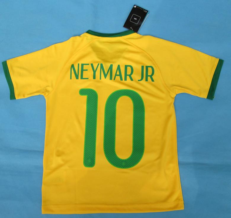 2014Brazil World Cup Thailand top quality Brazil home jersey # 10 Neymar JR 13-14 A +++ quality football jerseys Brazil(China (Mainland))