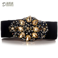 2014 new wide waistband belt female European retro fashion crystal glass elastic skirt belt