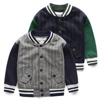 Children's clothing 2014 autumn color block decoration vertical stripe male child jacket child baseball uniform baby outerwear