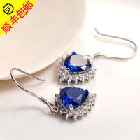 Silver earrings 999 pure silver women's love silver fashion elegant pure silver crystal earrings