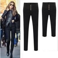 3XL Plus Size Women Pants 2015 Spring Autumn High Waist Casual Pants Slim Pencil Pants & Capris Cropped Trousers