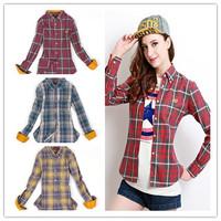 2014 women Autumn and winter preppy style small fresh plaid british style polka dot long-sleeve shirt female