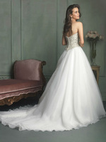 Free Shipping Sweetheart A Line Beaded Wedding Dresses with Buttons Custom size/color