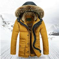New 2014 Winter Men'S Down Jacket Brand Natural Fur Collar Plus Thick Casual Jackets  Men Down Coat Jackets M-3XL XG-171