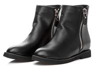 Free Shipping winter women flat heel double zipper boots fashion women martin boots