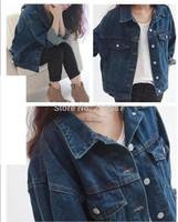 2014 Spring and autumn blazer women plus size short design denim jacket bf loose denim outerwear dark blue jean jacket S M L