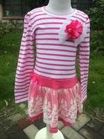 2014 new girls stripe back to school long sleeve dress  pettidress stripe baby girls dress