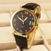 New Fashion Luxury Golden shell Men Quartz watches Leather Dress wristwatch Calendar analog clock