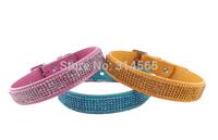 Exquisite Large Dog Collars Rhinestone Buckle PU Collars Pet Crystal Collar Pet Supplies
