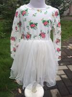 2014 new girls floral long sleeve dress  pettidress floral baby girls dress