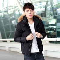 2014 winter new fashion trend men detachable cap a short fur collar jacket