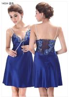 LZ nightwear 2014 new arrived embroidery sleeveless silk sexy night dress sleepwear nightgown sleepshirts 14024 M L XL XXL XXXL