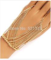 Multilayer Tassel Mittens Bracelet Cross Bracelet Bangle Slave Chain Link two Fingers Hand Harness