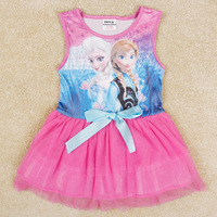 frozen fuchsia blue girls dress nova brand kids clothes novelty summer sleeveless ball gown for family princess H5282