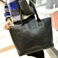 Fashion Hot Selling Women PU Leather Handbag Tote Shoulder Bags Large Capacity PU Weave Bags  solid handbag
