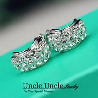18K White Gold Plated Rhinestones Fully Setting U-shape Luxury Lady Stud / Clip Earrings (Gold/Silver) Wholesale