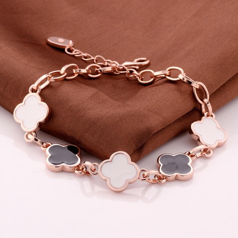VGBC180 Brand Jewelry Black White Clover Bracelet Top Quality 18K Rose Gold Plated Bracelete Pulseira for women wholesale(China (Mainland))