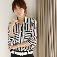 chiffon blusas femininas 2014 new ladies tops women OL white black striped blouse camisas femininas kimono woman blouse chiffon