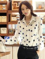 2014 New Casual Fashion Women Tops Loose Long Sleeve Ladies Sheer shirts Blouses Stars White camisas Chiffon blusas femininas