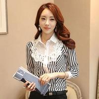 Women Work Wear lace Striped blouse Shirts Fashion Patchwork Tennis blusas de renda Elegant Chiffon Blouse camisas femininas