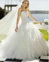 DED44 Elegant sweetheart top sequins beaded ball gown lace wedding dress 2014
