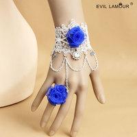 Min.order $15 Fresh Blue Rose Wriststrap Bracelet Vintage White Lace Chain Bracelet Fashion Party Jewelry Best Lover Gift WS-309