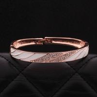 VGBA183 Brand Name Luxury Jewelry Trendy Enamel Bracelet Top Quality 18K Rose Gold Plated Bangle Pulseiras for women wholesale