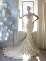 DED48 2014 See Through Mermaid Lace Fashionable Custom Made Wedding Dress