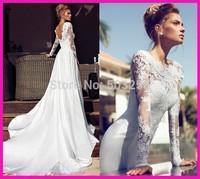 DED47 2014 Backless Long Sleeve Muslim Fashion Appliqued Wedding Dress Bridal Gown