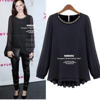 autumn Blusas Femininas 2014 Thick Long Sleeve za Women Blouse black Diamond Chiffon Women Clothes ladies t shirt camiseta