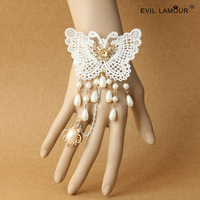 Min.order $15 Gothic Vintage Butterfly Lace Bride Wriststrap Bracelet Ring Deluxe Dangle Pearl Bracelet Party Jewelry WS-322