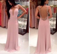 DED35 Simple Style Beaded Chiffon See Through Backless Prom Dress Formal 2014 Evening Dress