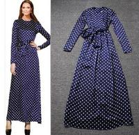 2014 new  female elegant chiffon one-piece dress long-sleeve dot bow belt ebay design long dress