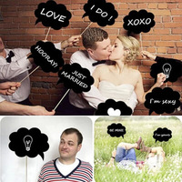 10pcs DIY Photo Booth Prop Set Wedding Birthday Party Black Paper Card Board Bubble Speech Chalk board Stick Accessories