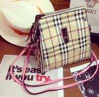 Desiugal 2014 New  british style plaid bag Brand B LOGO  women shoulder  messenger  hand bag genuine leather luxury bag  free