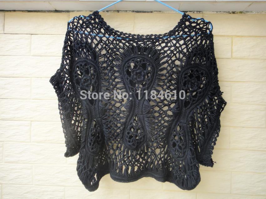 exclusivos hechos a mano negro crochet recortada top mujeres blusa de