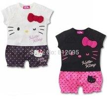 LittleSpring Retail 2014 summer baby rompers girls clothing sets newborn Cartoon hello KT kids romper boy girl children(China (Mainland))