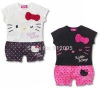 LittleSpring Retail 2014 summer baby rompers girls clothing sets newborn Cartoon hello KT kids romper boy girl children