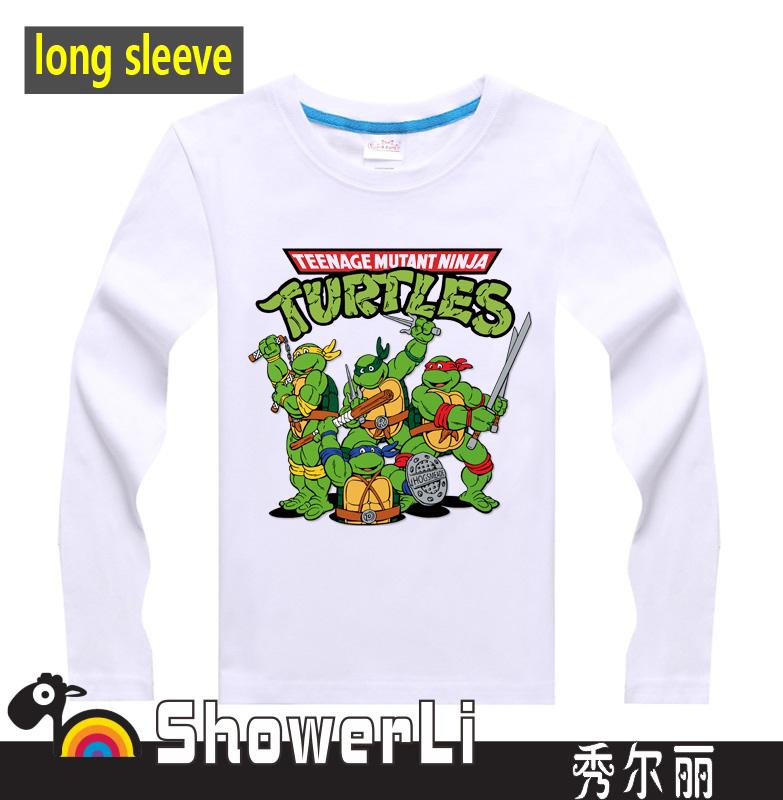 Cotton long full sleeve children t shirts, cute cartoon,game boys girls figure kids wear ninja turtles free shipping(China (Mainland))