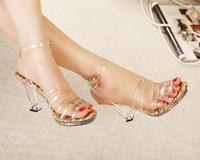 Crystal with jelly transparent sandals tyranids ultra high heels platform sandals 0961